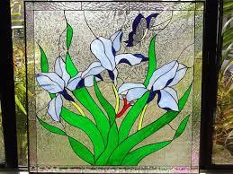 custom made iris erfly stained glass window