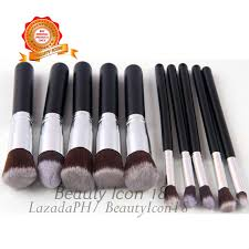 kabuki 10 pcs professional soft make up brush set black silver