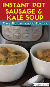 olive garden s zuppa toscana italian soup then this is it loaded with sausages kale and an amazing creamy sauce this instant pot sausage kale soup