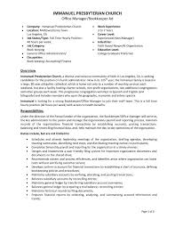 Bookkeeper Job Description Bookkeeper Sample Job Description Free Resume For Church Office 12