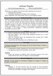 Resume Format For Mba Marketing Fresher Mba Marketing Resume