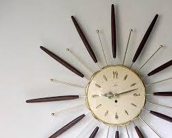 terrific vintage starburst wall clock 137 retro wooden sunburst wall