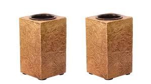 purpledip wooden t light candle holders with brass sheet cover set of 2 golden indian souvenir