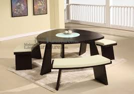 triangle counter height dining table brown leather single chairs white navy wool rug bay window inside round dining table with white chairs