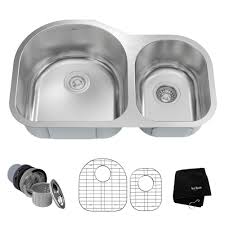 kraus drop in undermount stainless steel 32 in 60 40 double bowl kitchen sink kit kbu26 the home depot