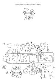 Happy Birthday Card Printable Coloring Pages Cards Colouring Free