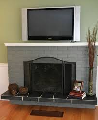 decoration beauty painted brick fireplace ideas gray also tall clear glass floor vase for dry branch arrangements beside small wood picture frames on