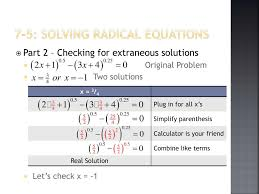 7 5 solving radical equations part 2 checking for extraneous solutions