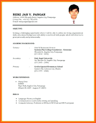Resume Sample University Admission Of Format For Job Application And