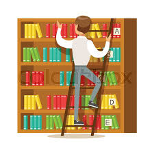 man with ladder searching for a book on bookshelf smiling person in the library vector ilration simple cartoon drawing with bookworm people loving to