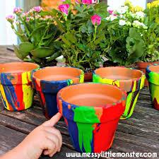 diy pour painting flower pots use a fun painting technique