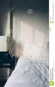 Light Bed Rest Warm Morning Light Over White Fluffy Bed Stock Image Image