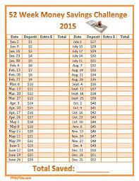 52 Week Money Savings Challenge 2015 Printable Chart