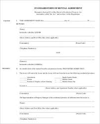 standard rental agreement template 29 rental agreement form free word pdf templates