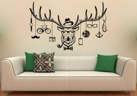 Small Picture Deer Hipster Wall Decal Deer Antlers Vinyl Stickers Wild
