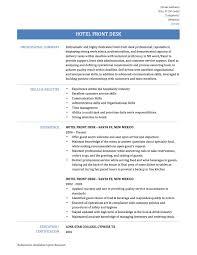 hotel front desk hotel front desk resume