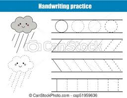 Writing Lines For Kindergarten Handwriting Practice Sheet Educational Children Game Printable Worksheet For Kids Writing Training Printable Worksheet Circles And Lines