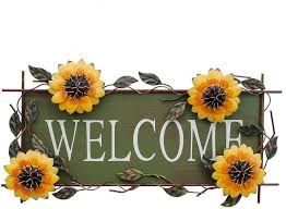 metal hanging sunflower welcome wall