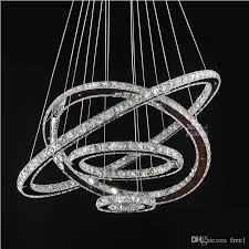led chandeliers crystal round rings lighting fixtures modern silver dinning room hanging lamps diy style tri tone light wire chandelier chandelier
