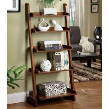 ravishing brown finished wooden ladder shelf storage inspiration floors well grey wall painted also modern small