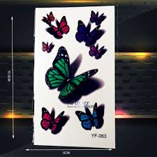 3d милые бабочки временные татуировки женщины ребенок боди арт