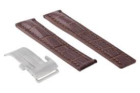 22mm leather band watch strap deployment clasp buckle for breitling brown 5ac