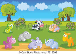 garden animals. Baby Animals Cartoon With Garden - Csp17715202