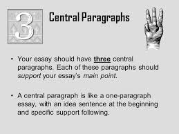 the five paragraph essay overview elements introduction first  central paragraphs your essay should have three central paragraphs