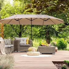 outsunny double canopy offset parasol