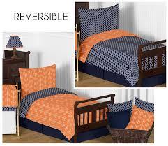 sweet jojo designs navy blue orange arrow boy girl toddler designer in boys bedding 10