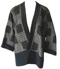 Juanita Girardin: Black and gray silk quilted patchwork kimono jacket &  Adamdwight.com