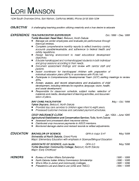 Teacher Resume Objective Examples experience teacher center supervisor