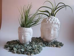 Buddha Head Decor Buddha Head Concrete Statue Plant Pot Pair Two White