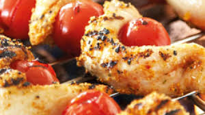 en skewers with tomatoes perfect