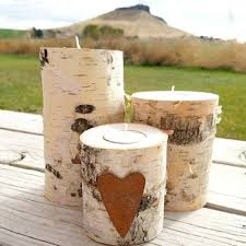 Birch Candle Holders, Set of 3 Real Natural Birch Log Tealight Candle  Holders, Holiday