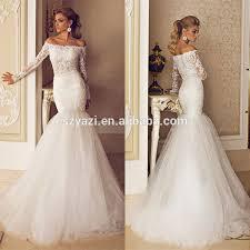 turmec long sleeve fishtail wedding dress