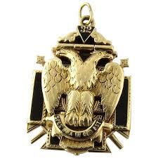 vintage 14k yellow gold masonic eagle tri fold fob pendant scottish rite freemasonry
