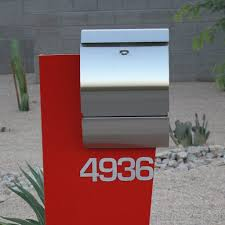 mailbox. Hansen Unit- Modern Curbside Mailbox Stainless Steel-Front View- Locking