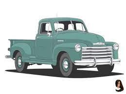 Chevy Pickup Truck Advanced Design Era Illustration Chevy Pickup Trucks Chevy Pickups Pickup Trucks