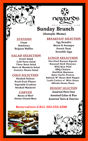 Sample Menu Sunday Brunch Newlands Golf And Country Club