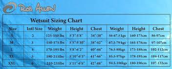 Rob Allen Wetsuit Size Chart Rob Allen