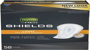 Depends Mens Shields Light Depend Shields For Men Light Absorbency Incontinence Protection 3 Packs Of 58 174 Total