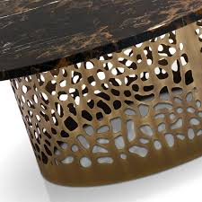 italian laser cut bronzed metal round marble coffee table