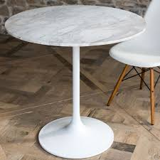 notting white marble top 80cm round small dining table with white gloss base