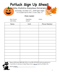 10 Free Potluck Sign Up Sheets Template Example