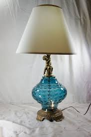 blue glass lamp. Antique Crystal Table Lamps Vintage Lamp Blue Glass Cherub Accent Nightlight Unusual Color