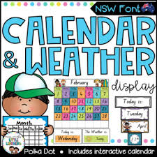 Calendar And Weather Chart Nsw Font Polka Dot Tpt