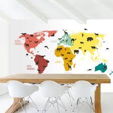 Bolcom Wereldkaart Voor Kinderen Behang Dieren Beesten 265x350 Cm