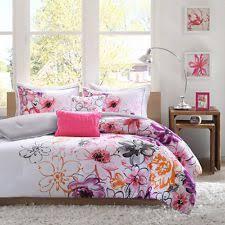 <b>4 Piece</b> Girls Floral Themed Comforter Twin TXL Set, <b>Pretty</b> Abstract ...