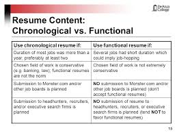 m  reber     resumes making yours stand out from the masses    resume content  chronological vs  functional use chronological resume if use functional resume if